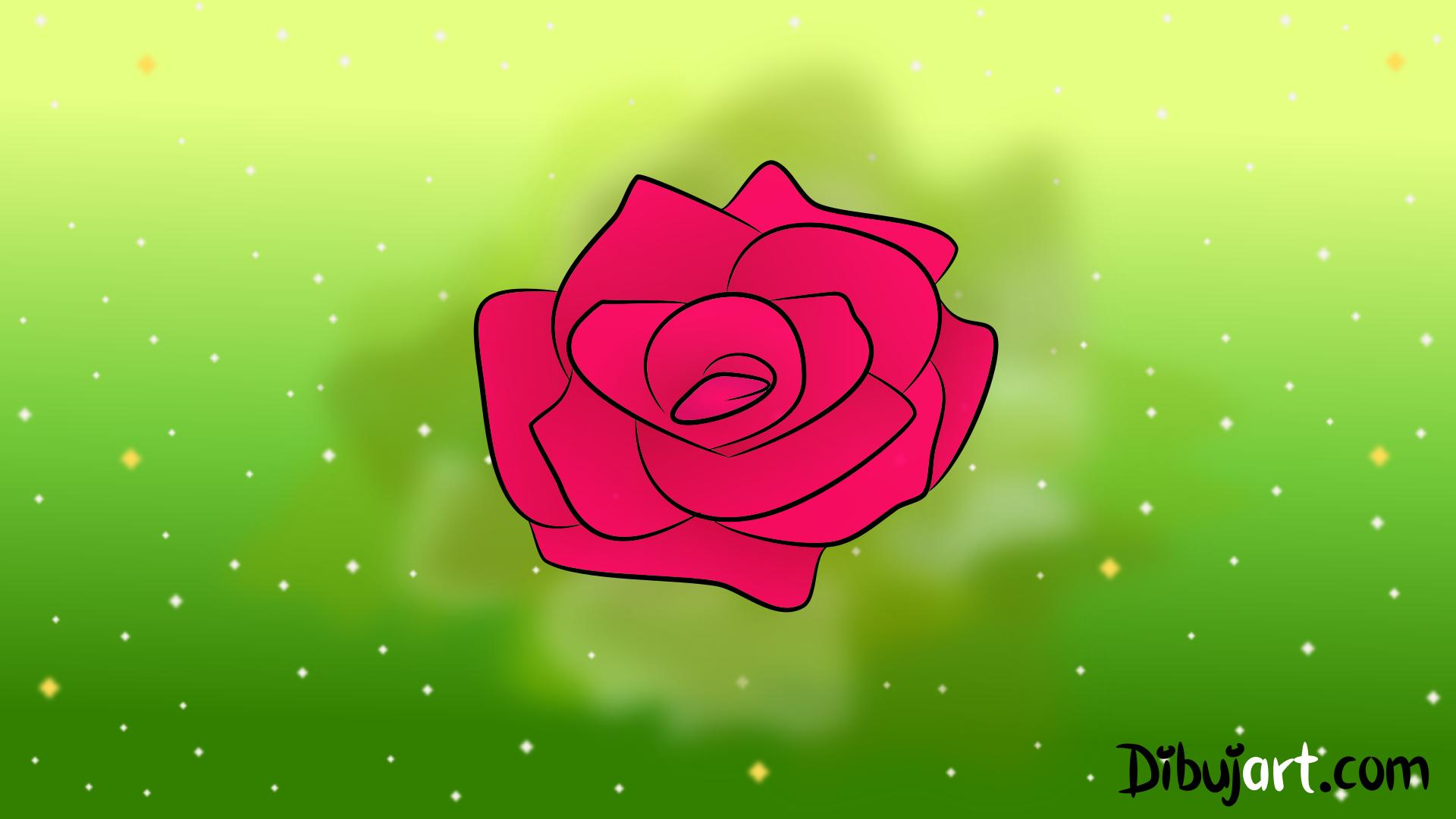 Cómo dibujar una Rosa sencilla y fácil #6 - Serie de dibujos de ...