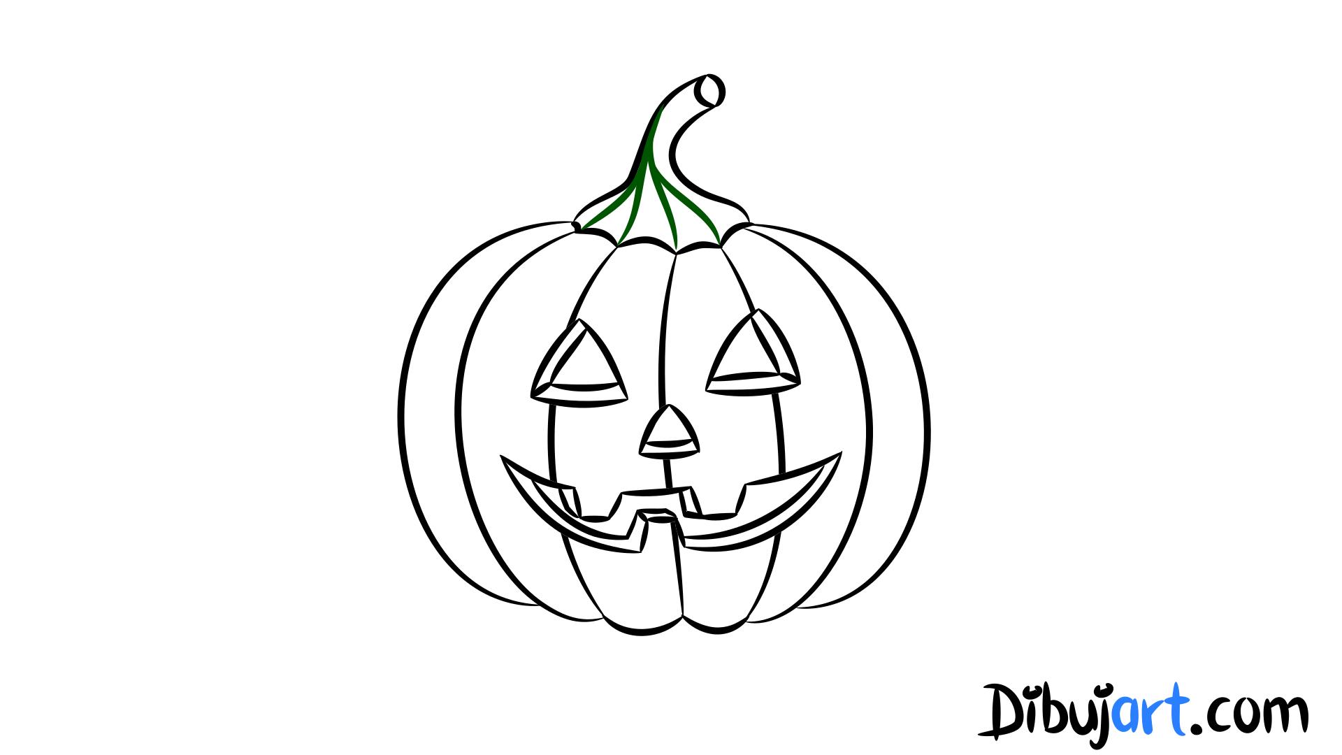 Cómo dibujar una Calabaza de Halloween paso a paso | dibujart.com