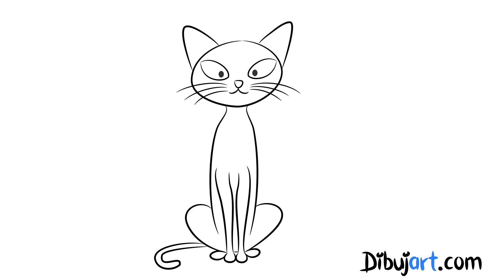 Cómo dibujar un gato sencillo , Sketch o Bosquejo para colorear