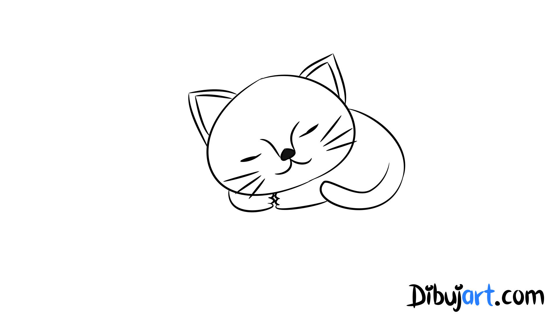 Cómo dibujar una Gato bebé tierno paso a paso #4 — Serie de dibujos ...