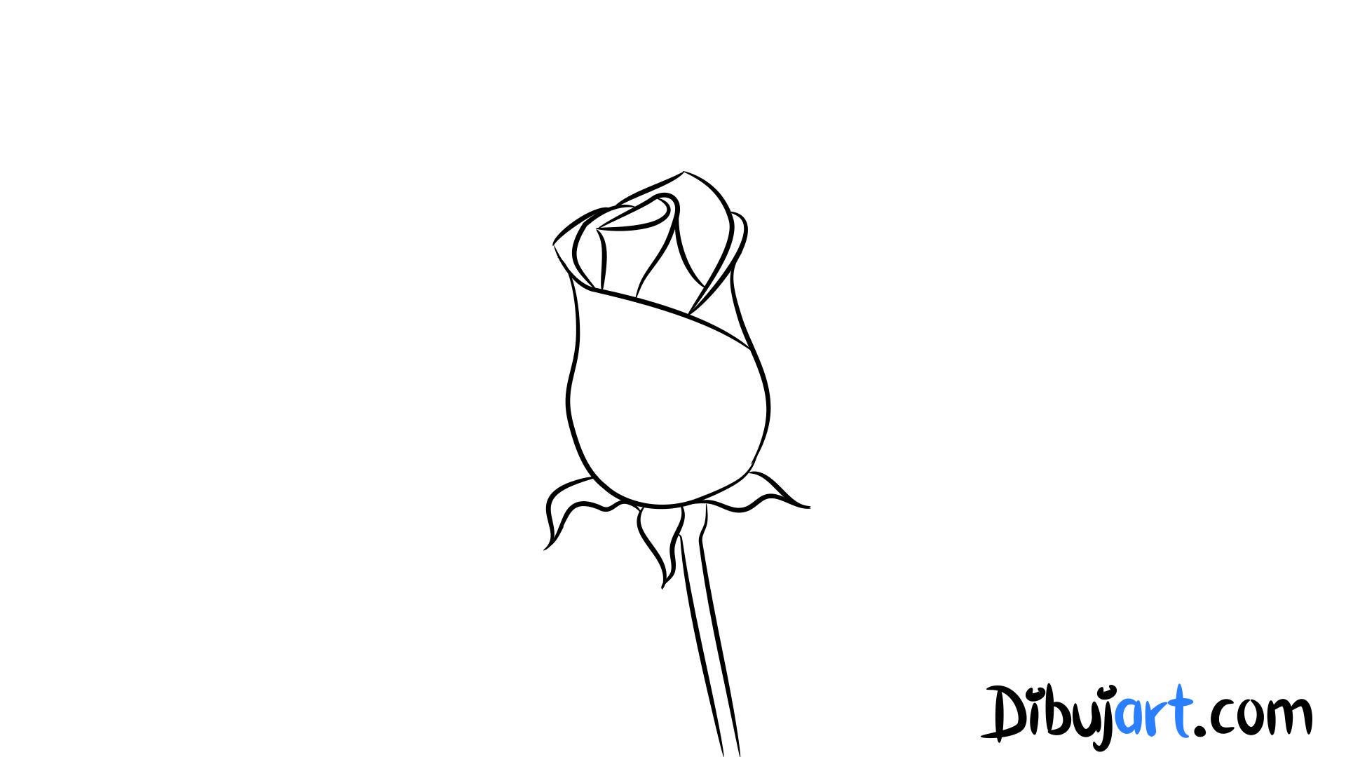 Cómo dibujar una Rosa roja romántica #5 - dibujos de Rosas rojas ...