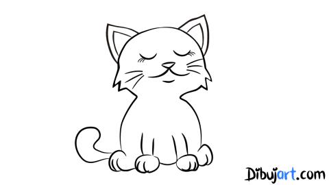 Bosquejo de la gata para colorear