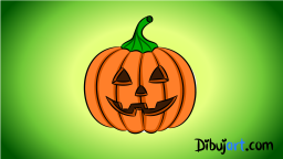 Imagen de una Calabaza de Halloween en clipart o cartoon