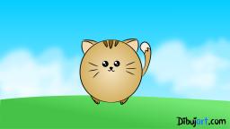 Imagen clipart de un  tierno gato Kawaii para niños