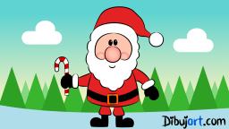 Imagen clipart del Papa Noel con color