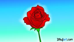 Imagen clipart de una Rosa Roja